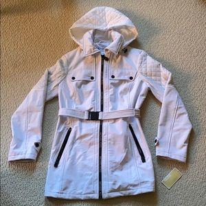 Michael Kors white spring jacket/coat, belted NEW